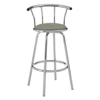 An Image of Ceko Grey Padded Seat Revolving Bar Stool In Chrome