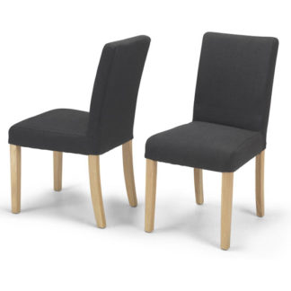 An Image of Exotic Dark Grey Fabric Dining Chairs In A Pair With Natural Leg