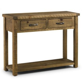 An Image of Alecia Wooden Console Table In Rough Sawn Pine With 2 Drawers