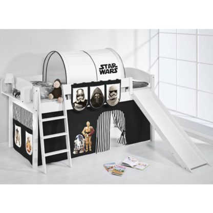 An Image of Lilla Slide Children Bed In White With Star Wars Black Curtains