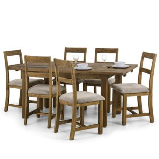 An Image of Alecia Extending Dining Table In Rough Sawn Pine With 6 Chairs