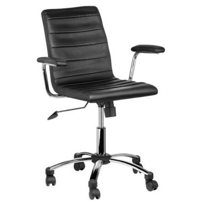 An Image of Tenova Black Faux Leather Home And Office Chair With Arms