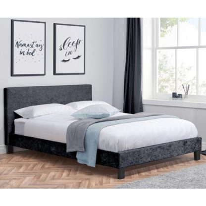 An Image of Berlin Fabric Small Double Bed In Black Crushed Velvet
