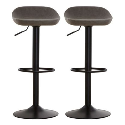 An Image of Kekoun Grey Faux Leather Bar Stools In Pair
