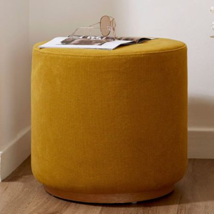 An Image of Giausar Round Soft Fabric Upholstered Stool In Yellow