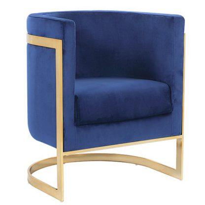 An Image of Fenda Velvet Armchair In Blue With Gold Stainless Steel Legs