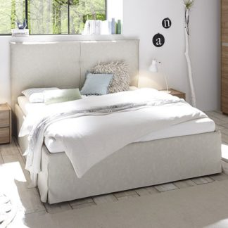 An Image of Civics Faux Leather Double Bed In Clay Effect