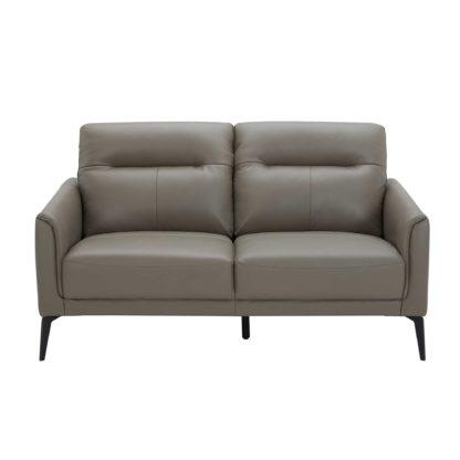 An Image of Belgravia 2 Seater Leather Sofa, Melbourne Dark Grey M5655