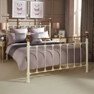 An Image of Abigail Precious Metal Double Bed In Ivory and Brass