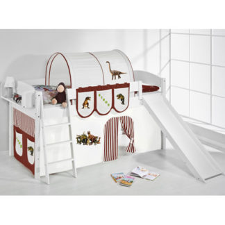 An Image of Lilla Slide Children Bed In White With Dinosaur Brown Curtains