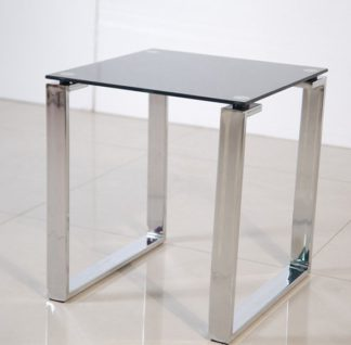 An Image of Zeus Side Lamp Table In Black Glass Top