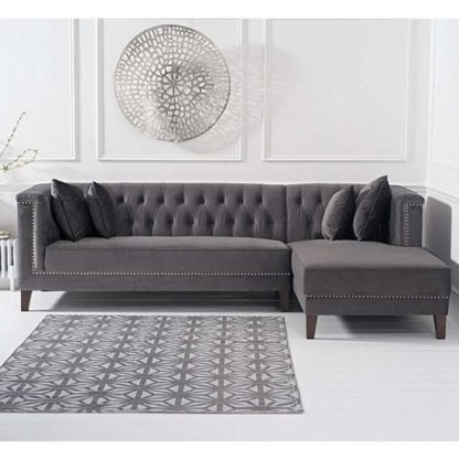 An Image of Tislit Velvet Right Facing Chaise Sofa Bed In Grey