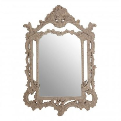 An Image of Vesey Wall Bedroom Mirror In Weathered Antique Grey Frame
