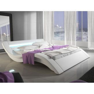 An Image of Sienna Designer King Size Bed In White PU With Multi LED