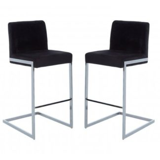 An Image of Tamzo Black Velvet Upholstered Bar Chair With Low Back In Pair