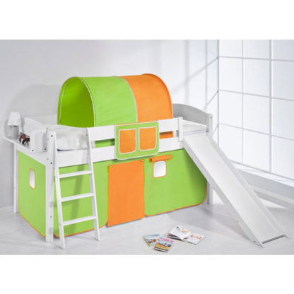 An Image of Lilla Slide Children Bed In White With Green Orange Curtains