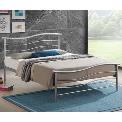 An Image of Waverley Modern Metal Double Bed In Silver
