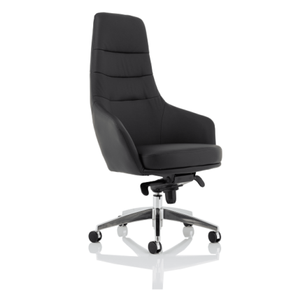 An Image of Agora Office Chair In Black With Fixed Arms And High Back