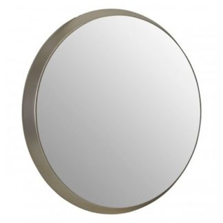 An Image of Athens Round Wall Bedroom Mirror In Silver Frame