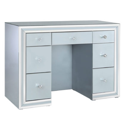 An Image of Quartz 7 Drawer Dressing Table, Grey Glass and Mirror