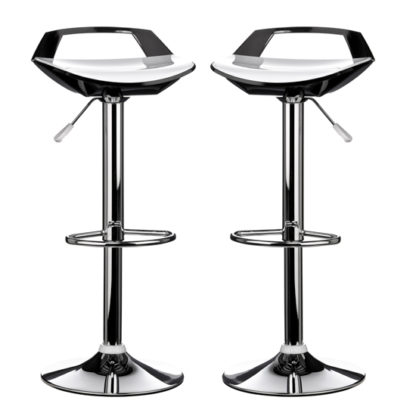 An Image of Ceko White And Black ABS Plastic Bar Stools In Pair