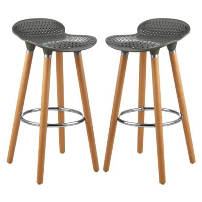An Image of Porrima Matte Grey Plastic Seat Bar Stools In Pair