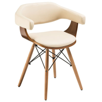 An Image of Tenova Cream Faux Leather Bedroom Chair With Beech Wooden Legs
