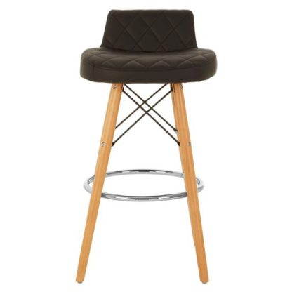 An Image of Porrima Faux Leather Bar Stool In Black With Natural Legs