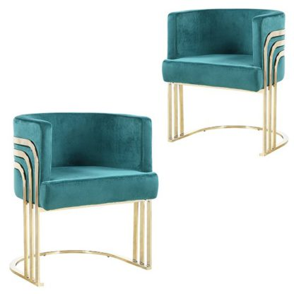 An Image of Lula Green Velvet Dining Chairs In Pair With Gold Legs