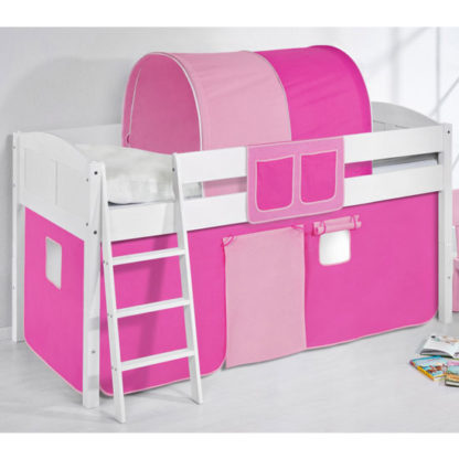 An Image of Hilla Children Bed In White With Pink Curtains