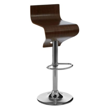 An Image of Savial Wooden Bar Stool In Walnut With Chrome Stand