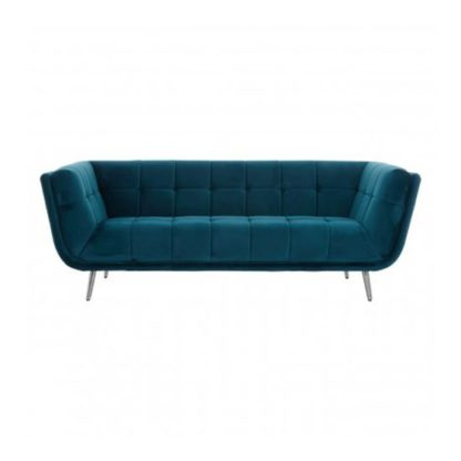 An Image of Sabina 3 Seater Fabric Sofa In Teal