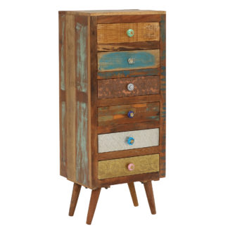 An Image of Little Tree Furniture Shimla Eclectic 6 Drawer Multi Chest