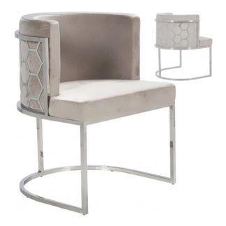 An Image of Meta Beige Velvet Dining Chairs In Pair With Silver Legs