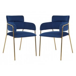 An Image of Tamzo Blue Velvet Dining Chairs And Gold Legs In Pair