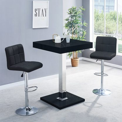 An Image of Topaz Glass Bar Table In Black Gloss With 2 Coco Black Stools
