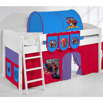 An Image of Hilla Children Bed In White With Spiderman Curtains