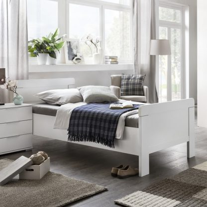 An Image of Newport Wooden Single Bed In Alpine White
