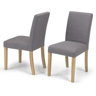 An Image of Exotic Grey Fabric Dining Chairs In A Pair With Natural Legs