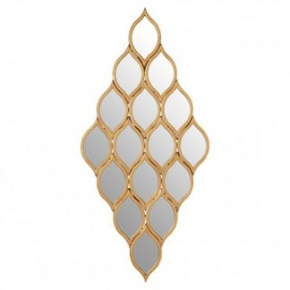 An Image of Zaria Multi Diamond Shape Wall Bedroom Mirror In Gold Frame