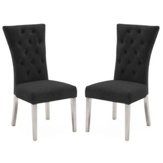 An Image of Pembroke Charcoal Velvet Dining Chairs In Pair