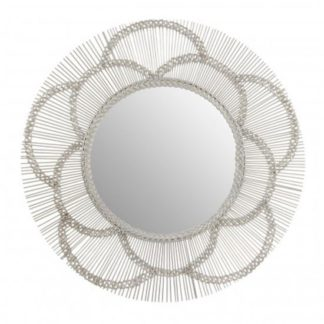 An Image of Templars Floral Effect Wall Bedroom Mirror In Silver Frame