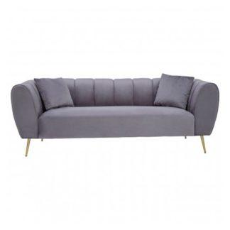 An Image of Florina Velvet Upholstered 3 Seater Sofa In Grey