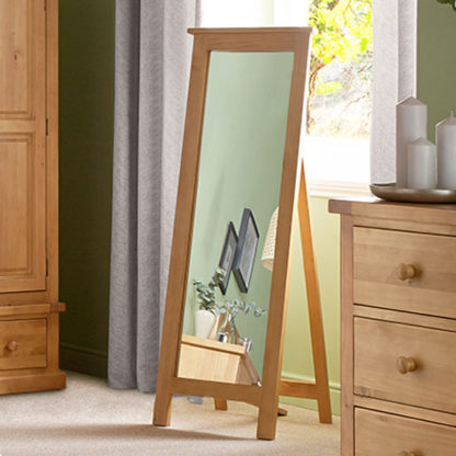 An Image of Cyprian Wooden Cheval Mirror In Chunky Pine Frame