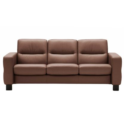 An Image of Stressless Wave Low Back 3 Seater Sofa, Leather