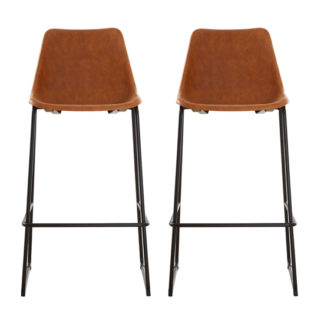 An Image of Kekoun Vintage Camel Faux Leather Bar Stools In Pair