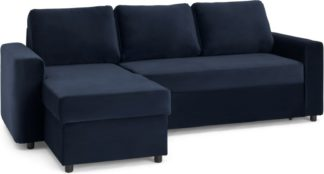 An Image of Aidian Corner Sofa Bed with Storage, Regal Blue Velvet