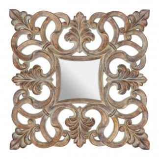 An Image of Siena Intricate Design Wall Bedroom Mirror In Antique Wood Frame