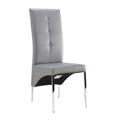 An Image of Vesta Studded Dining Chair In Grey Faux Leather