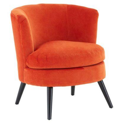 An Image of Vekota Round Plush Velvet Upholstered Armchair In Orange